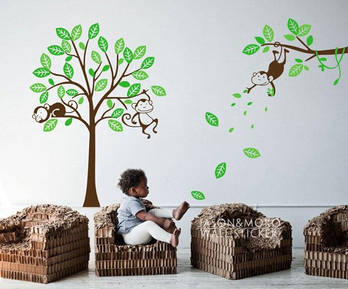 Ξ3 Monkey Tree y rama vid-Baby Nursery pared de vinilo etiqueta de ...