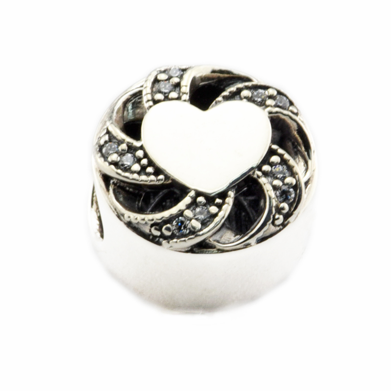 DIY Beads for Jewelry Making Sterling-Silver-Jewelry Ribbon Heart Bead WITH CLEAR CZ Charms Silver 925 Berloque Perles