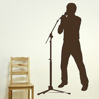 Diy Boys Singer Wall Stickers Home Decor Music Microphone Patern Wall Decals Music Lover Living Room