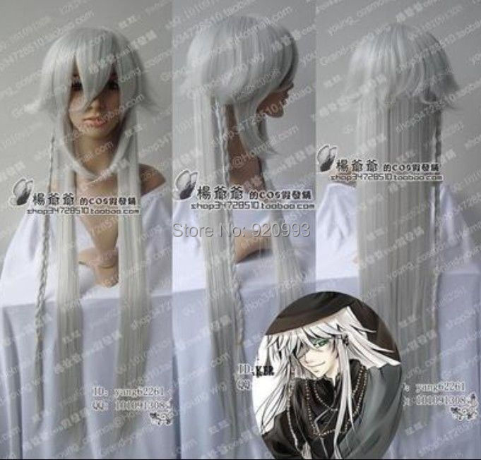 WQ & Wholesale &>>> Black Butler Kuroshitsuji Undertaker Cosplay Sexy argenteo Parrucca bianca 100 cm