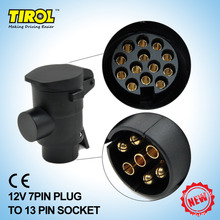 TIROL 7 To 13 Pin Trailer Plug Black frosted materials Trailer Wiring Connector 12V Towbar Towing Plug Free Shipping
