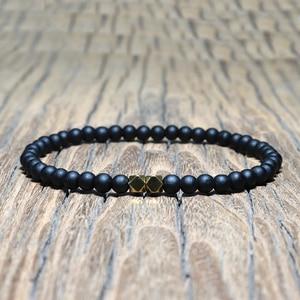 Image 5 - Mode 4 mm Schwarz Matte Obsidian Armband Minimalistischen Yoga Gebet Perlen Braclet Für Männer Armband Mala Schmuck Homme Bileklik