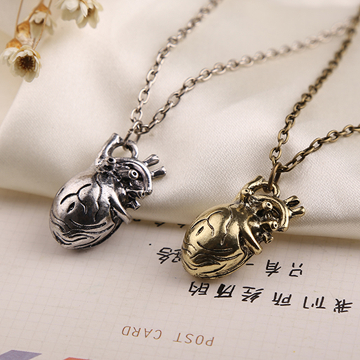 Anatomical Anatomy Heart Necklace Cardiac Atrium Love Silver Bronze Pendant Vintage Medical Biology Jewelry Men Women Wholesale