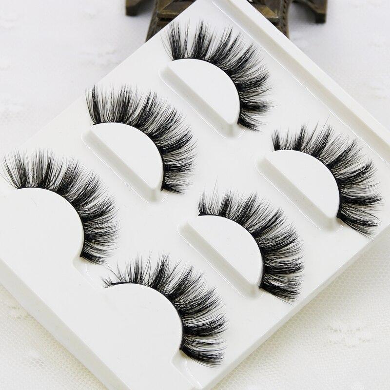3 teile/los 100% handgemachte echte nerz falsche wimpern 3D streifen nerz wimpern starke gefälschte faux wimpern Make-Up schönheit Falsche wimpern