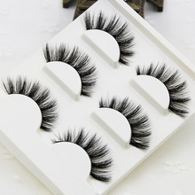 3pcs/lot 100% handmade real mink fur false eyelash 3D strip mink lashes thick fake faux ey