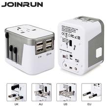 Joinrun Универсальный дорожный адаптер Электрический вилки розетки конвертер США/AU/UK/EU с 4 Зарядка через usb 2.светодио дный 4A LED мощность индикатор