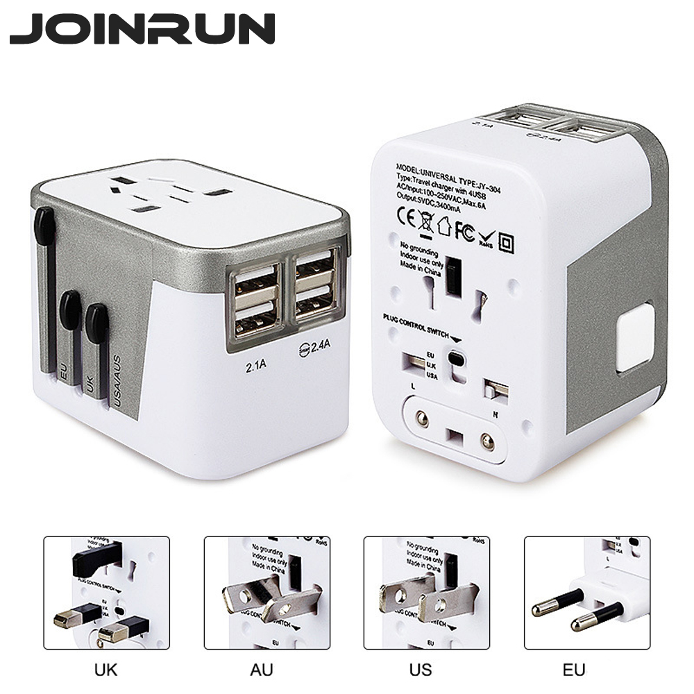 Joinrun Universal Travel Adapter Electric Plugs Sockets Converter US/AU/UK/EU with 4 USB Charging 2.4A LED Power Indicator