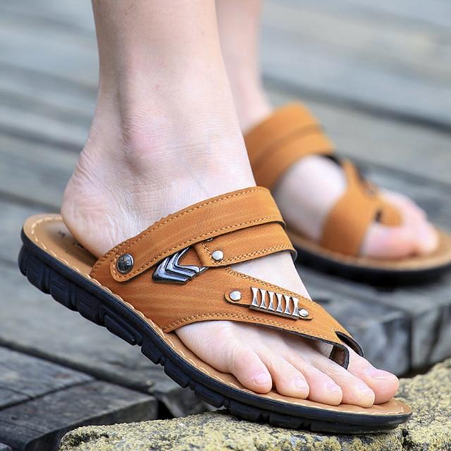 22d2e1370 Best-selling Classic Design Men Sandals High Quality Pu Leather Beach sandals  Men Slippers Men Summer Shoes 38-44 big size