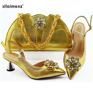 Image 3 - Latest Silver Color Wedding Clutch Bag Match Nigerian Women Shoes and Bag Matching Set African Shoes and Bag Match for Party