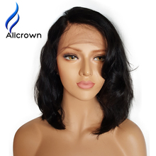 Alicrown Wet Wavy Lace Front Human Hair Wigs Brazilian Short Human Hair Wigs For Black Women Short Full Lace Wig With Baby Hair