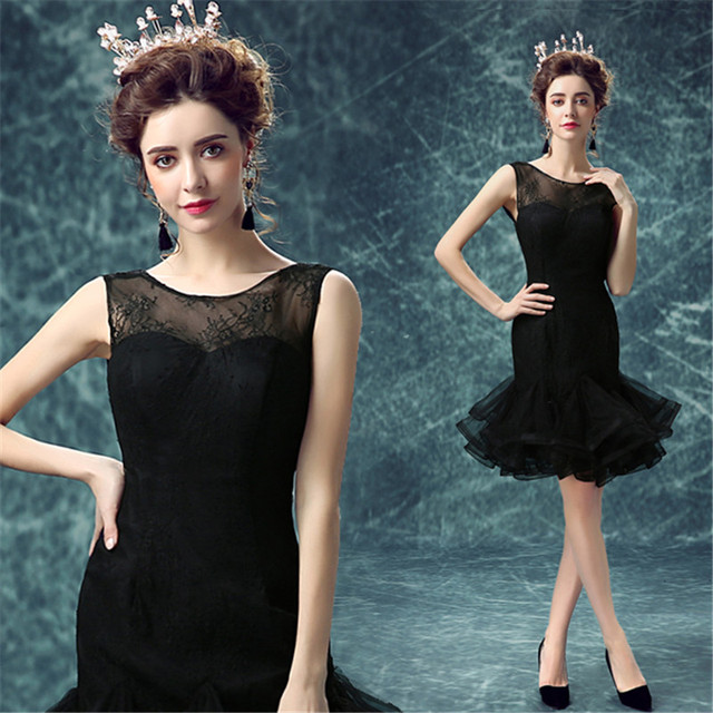 d39fdc7576e8 abendkleider Trumpet Mermaid Evening Dress Maid of Honer wedding Guest  dresses Lace Puffy Black Formal Evening Dresses