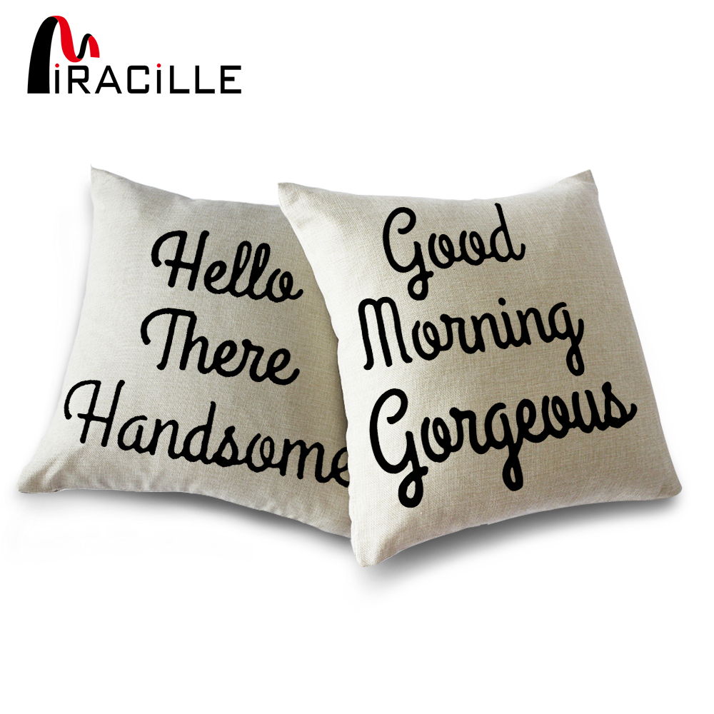 Miracille Pair Hello There Handsome Good Morning Gorgeous Linen Blend Home Decoration Throw Couch Pillowcase Cushion Cover