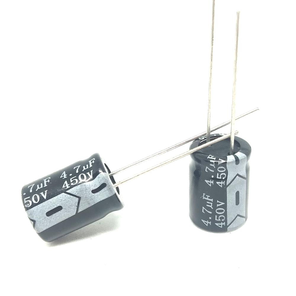 High Quality New 50pcs 450V 4.7UF Original Aluminum Electrolytic Capacitor 4.7UF 450V 10 * 13mm IC ...-in Capacitors from Electronic Components & Supplies