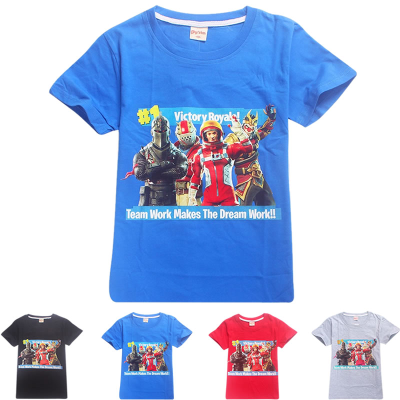 Hot Game Fortnite Boys Clothes Summer Kids Boys T-shirt 100% Cotton Fortnite Print Children Clothing Tees Kids Girls Tops Tees