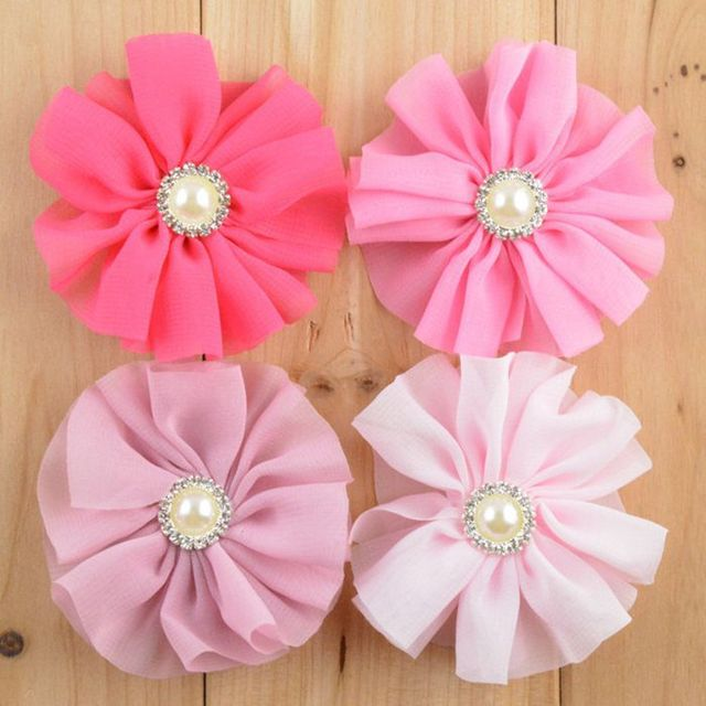 H85  (15 pcs/lot ) Handmade 7cm chiffon flowers with pearls and rhinestones for hair/shoes/hat/apparel accessories