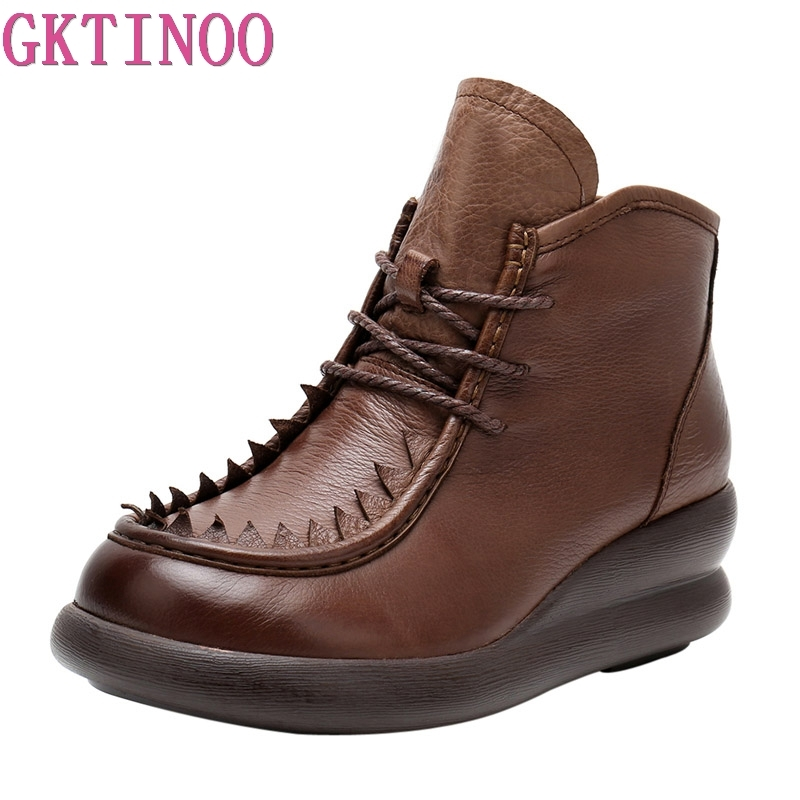 GKTINOO Handmade Boots Women Comfortable Autumn Genuine Leather Ankle Boots for Women Soft Martin Wedges Platform Shoes Ladies