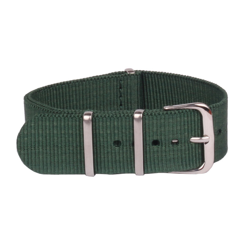Relojes clásicos de 20mm, brazalete fuerte verde oscuro, militar, ejército, tela nato, pulseras de nailon, tiras tejidas, correa de hebilla de 20mm