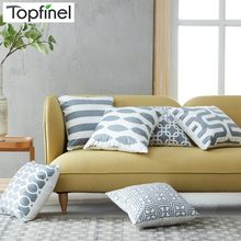 Topfinel Geometric Cushion Cover Grey Pillow Covers For Puff Sofa Seat Chair Velvet Decorative Throw