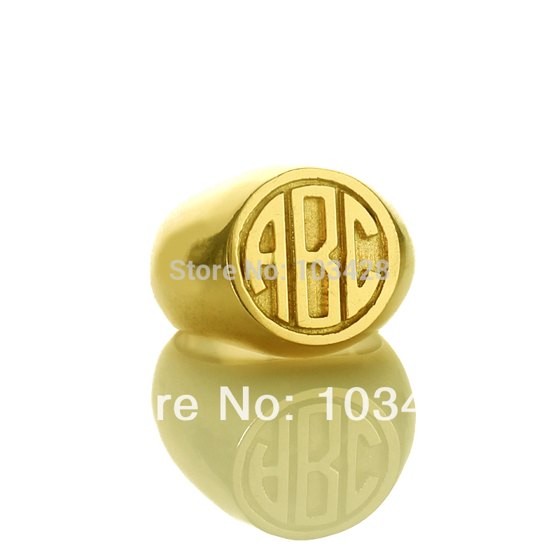 все цены на AILIN Engraved Rings Personalized 3 Monogram Circle Block Initials Customized Monogrammed Gold Color Ring 0.59