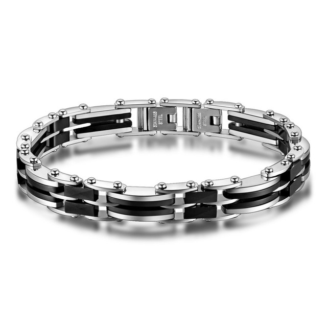 New Hot Selling Classic Mens Bracelets Bangle Stainless Steel Black Ceramic Male Fine Jewelry Wristband Christmas Gift Wholesale