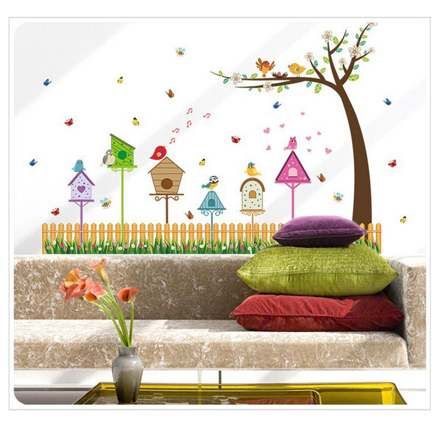 Garden Fence Birdu0027s Nest Butterfly Grass Flowers Tree Wall Stickers Living  Room Home Decorations Bedroom DIY