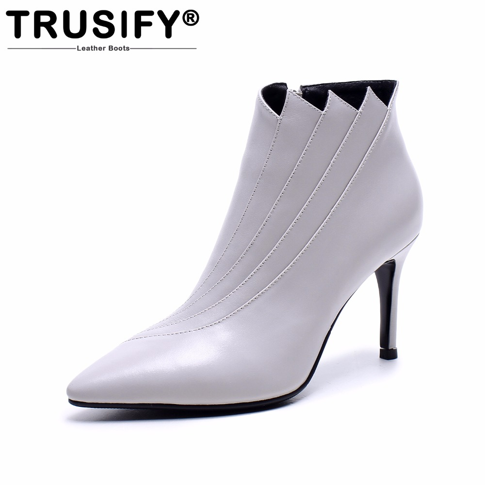 TRUSIFY 2018 Ohdiscovery leather boots women pointed toe zipper design fashion 8.5cm high heel womens shoes thin heels