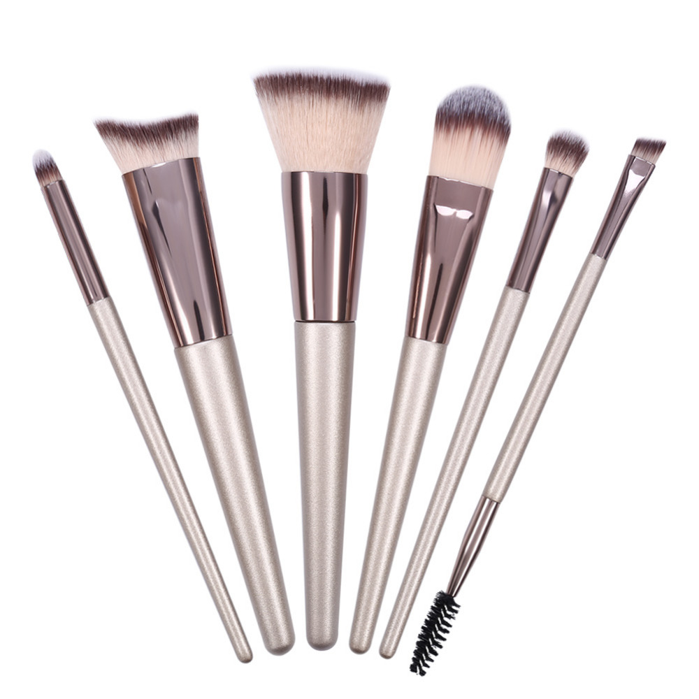 Makeup Brushes 6pcs Sets Pro Champagne Cosmetic Brushes Foundation Powder Eye shadow Blush Blending Lips Face Make Up Brush Set 16pcs makeup brushes cosmetic set blush eye shadow foundation powder brush w bag powder make up soft brushes mquiagem