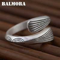 BALMORA Solid 990 Pure Silver Vintage Open Rings For Women Men Gift Unique Fashion Ring Thai