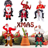 Unisex Santa Claus Costume Ride on Me Animal Pants Carry Back Fancy Up Party Costume Christmas Festival Clothes Party Supplies