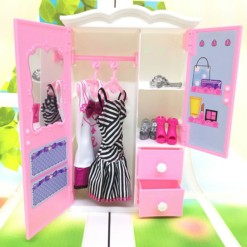 1PCS Dollhouse Furniture Plastic Wardrobe Living Room Plastic White Wardrobe Closet For   Dollhouse Accessories Toy