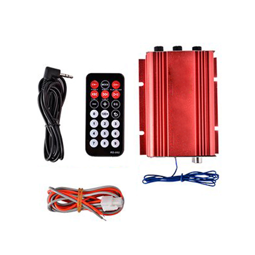 ETC Hot <font><b>Amplifier</b></font> Amp+Remote Speaker for <font><b>2</b></font>-channel 500W Car Auto MOTO boat USB MP3 FM red