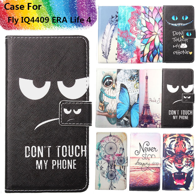 Fashion 11 Colors Cartoon Painting PU Leather Magnetic clasp Wallet Cover For Fly IQ4409 ERA Life 4 Case