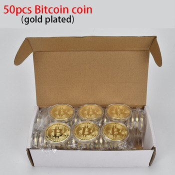 50PCS Hot Gold Plated Bitcoin Coin BTC Bit coin Physical cryptocurrency Metal coin 1