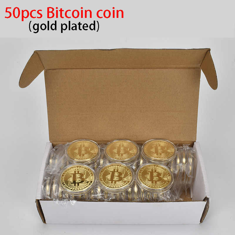 50 PCS Hot Banhado A Ouro Bitcoin cryptocurrency Metal moeda Moeda BTC moeda Bit Física