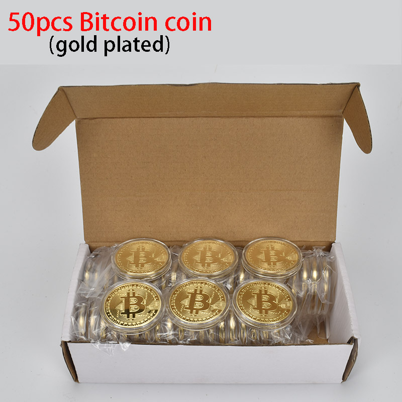 50PCS Hot Gold Plated Bitcoin Coin BTC Bit coin Physical cryptocurrency Metal