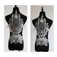 2017 Yeni Nakış Dantel Çiçek Aplike El Yapımı DIY Düğün Elbise Moda Peçe Düğün Dekoratif Malzemeler Beyaz Dantel Kumaş