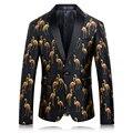 Мужская 3D Печати Blazer Последние Дизайн Пальто Мода Кран Печатных Balzer мужчины Slim Fit Этап Куртка Свадебное Платье 2017 Выпускного Вечера Костюм Q216