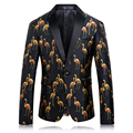 Mens 3D Print Blazer Latest Coat Design Fashion Crane Printed Balzer Men Slim Fit Stage Jacket Wedding Dress 2017 Prom Suit Q216