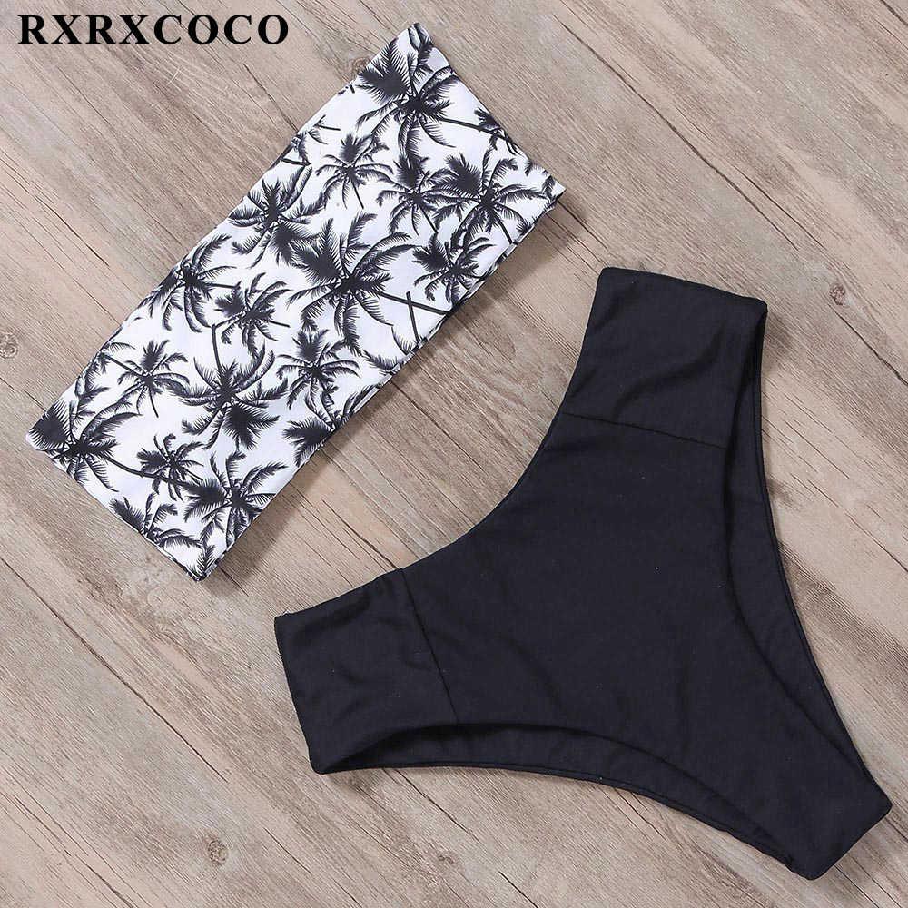 Rxrxcoco High Waist Bikini Bandeau Pakaian Renang Wanita Baju Renang Ular Cetak Baju Renang Wanita Brasil Bikini 2019 Bikini Suit