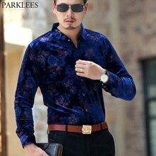 Mens Hipster Velvet Floral Dress Shirt 2018 Autumn New Slim Fit Long Sleeve Camisas Business Casual Office Velour Shirt Male