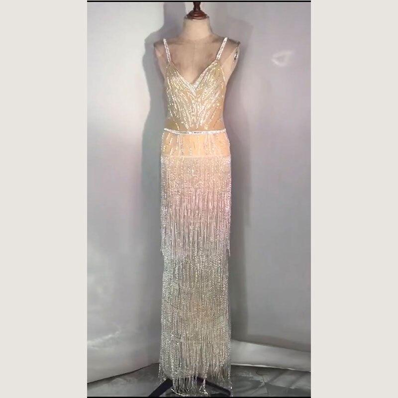 Mode strass franges robe à bretelles femmes soirée anniversaire célébrer gland robe scène femmes chanteuse danseuse longue robe