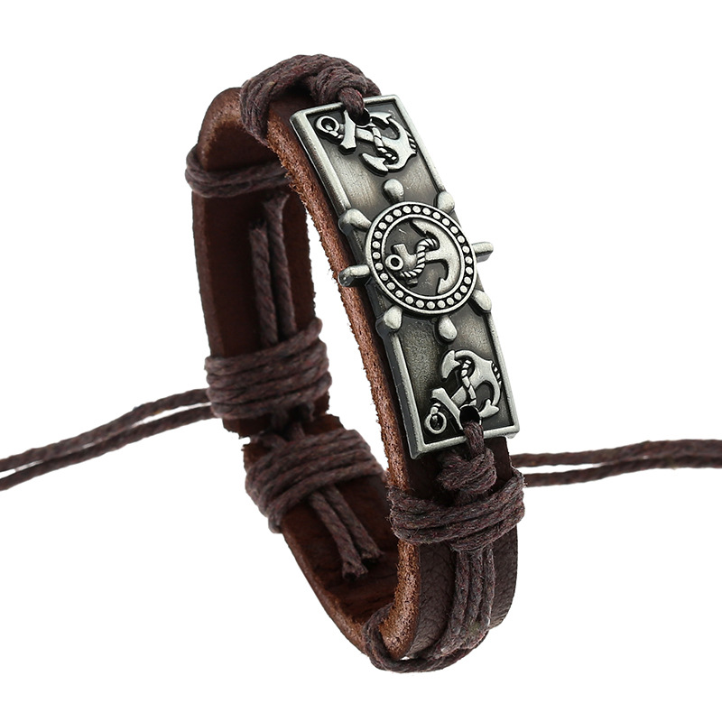 SamYeung Vintage Handmade Leather Rudder Anchor Bracelet Men Braclet For Male Female Braslet Bracelete Femme Pulseira Pulseras