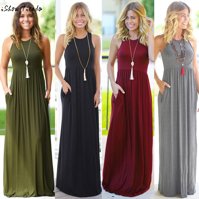 00fcc65b396 Women sleeveless vest Dress Pockets Sexy Boho Long Maxi Dress Ladies Summer  Solid Color Beach Party