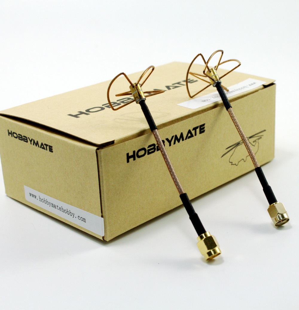 HOBBYMATE FPV 5.8 Ghz Clover Leaf Omni-directional Circular Polarized Video/audio Antenna, High Gain Aerial Set w/SMA Plug