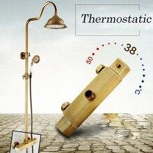 Контроль температуры Латунь Античная Двойной Ручки Термостатический Смеситель Для Душа Ванная Комната 8 «Дождь Душевая Панель