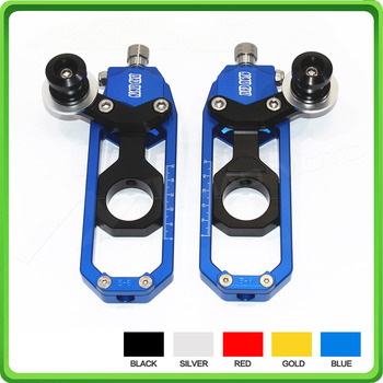 Motorcycle Chain Tensioner Adjuster with paddock bobbins kit for Yamaha R1 YZF-R1 2004 2005 Blue&Black