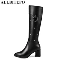 ALLBITEFO Large Size 33 43 Genuine Leather Pu Thick Heel Women Boots New Winter Boots Brand