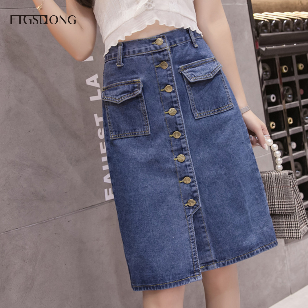 FTGSDLONG S 5XL Denim Skirt Large Size Split 2019 Summer Button High Waist Pocket Skirt Solid Casual A Line Skirt Knee Length in Skirts from Women 39 s Clothing