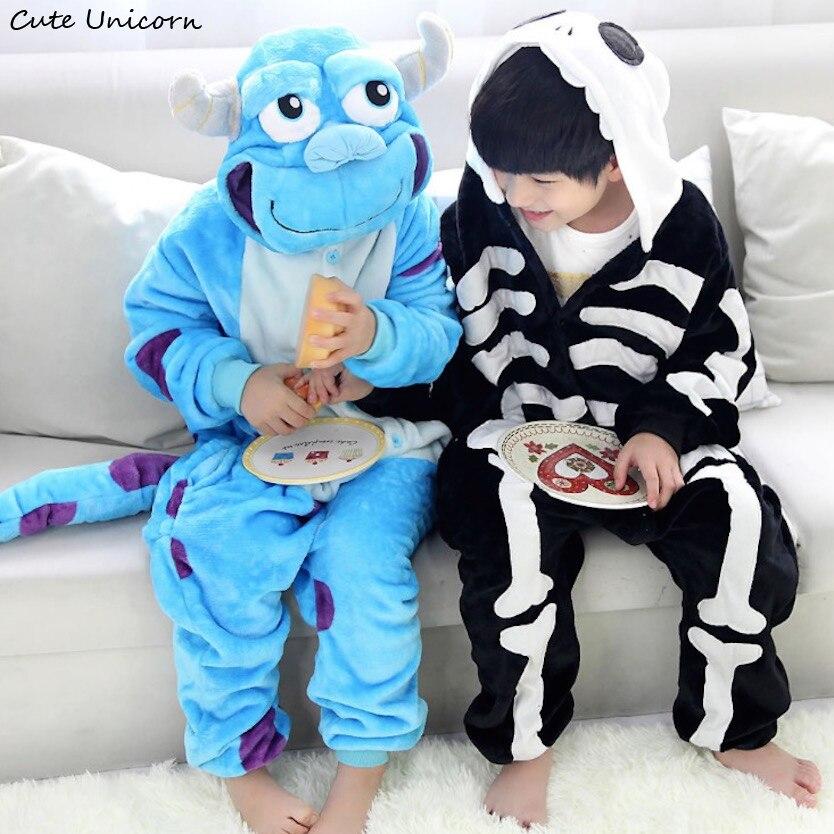 Unisex Children Clothing Skeleton & Sullivan Animal Pajamas sleepwear Jumpsuit kids clothes baby rompers Flannel Onesies costume