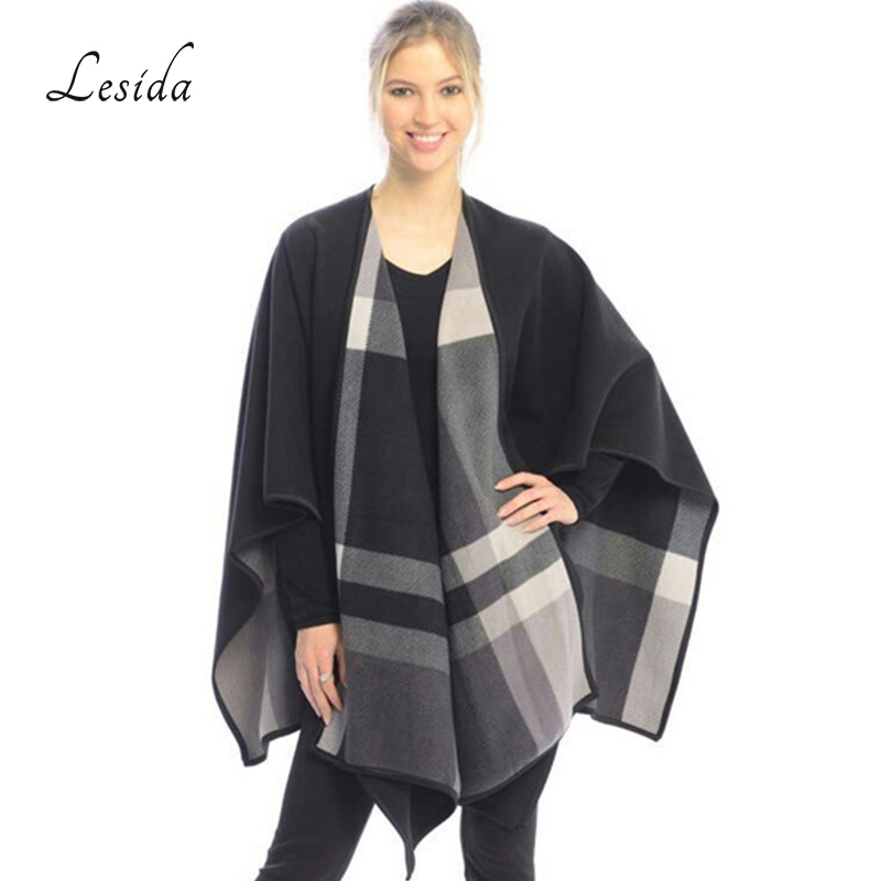 8c445e429a26 LESIDA Large Shawl Women Ponchos And Capes Plaid Scarves Winter Warm Echarpe  Femme Double Layer Luxury Bufandas 110 150CM 3419-in Women s Scarves from  ...